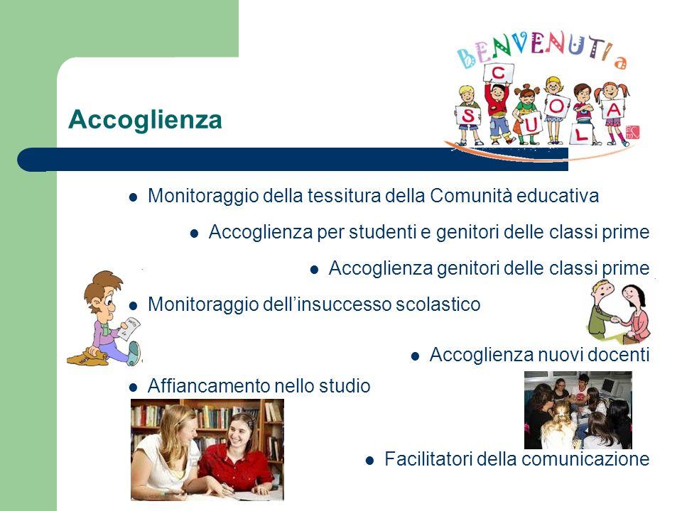 Accoglienza Monitoraggio della tessitura della Comunità educativa Accoglienza per studenti e genitori delle classi prime Accoglienza genitori delle cl