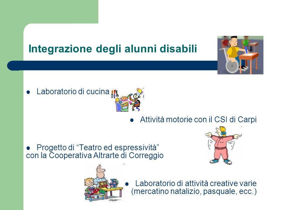 Integrazione degli alunni disabili Laboratorio di cucina Attività motorie con il CSI di Carpi Progetto di Teatro ed espressività con la Cooperativa Al