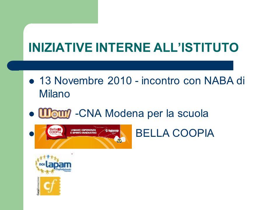 INIZIATIVE INTERNE ALLISTITUTO 13 Novembre 2010 - incontro con NABA di Milano -CNA Modena per la scuola BELLA COOPIA
