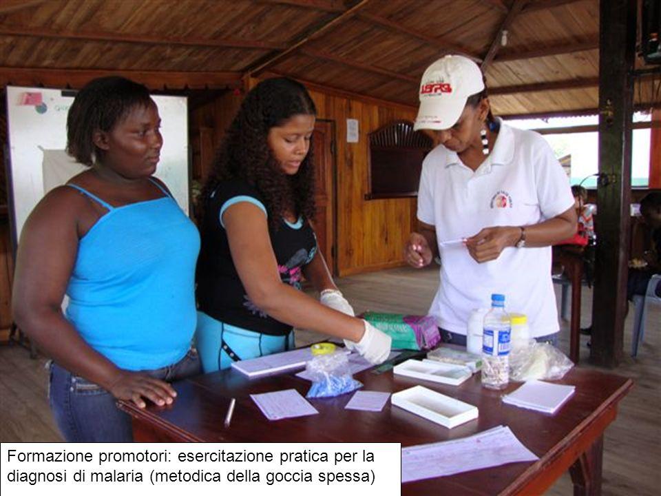Formazione promotori: esercitazione pratica per la diagnosi di malaria (metodica della goccia spessa)
