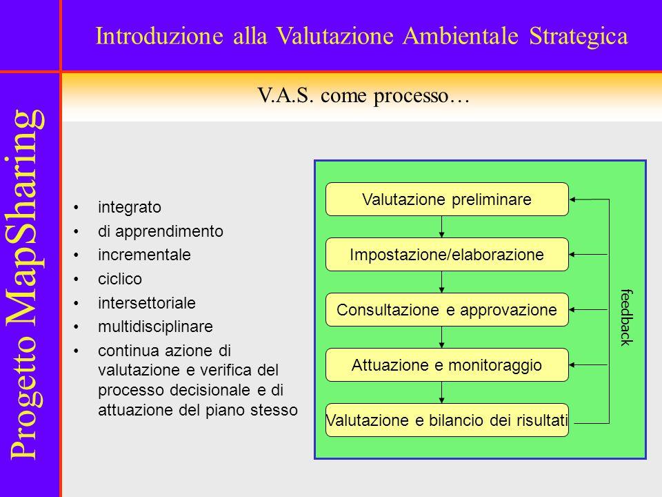 Valutazione preliminare Consultazione e approvazione Impostazione/elaborazione Attuazione e monitoraggio Valutazione e bilancio dei risultati feedback V.A.S.