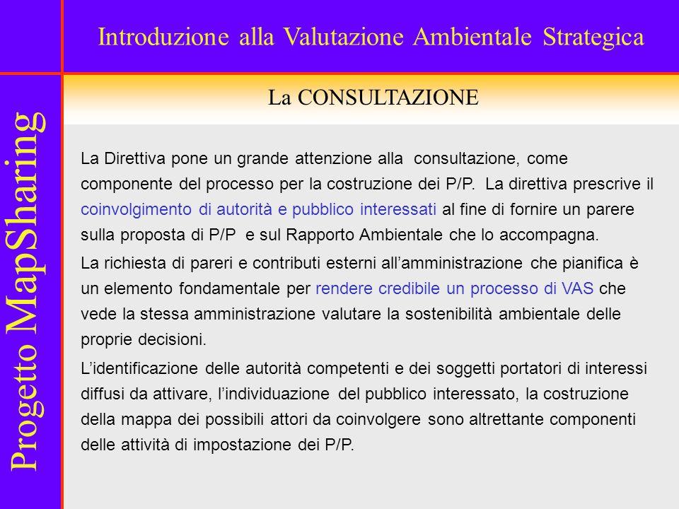La CONSULTAZIONE La Direttiva pone un grande attenzione alla consultazione, come componente del processo per la costruzione dei P/P.