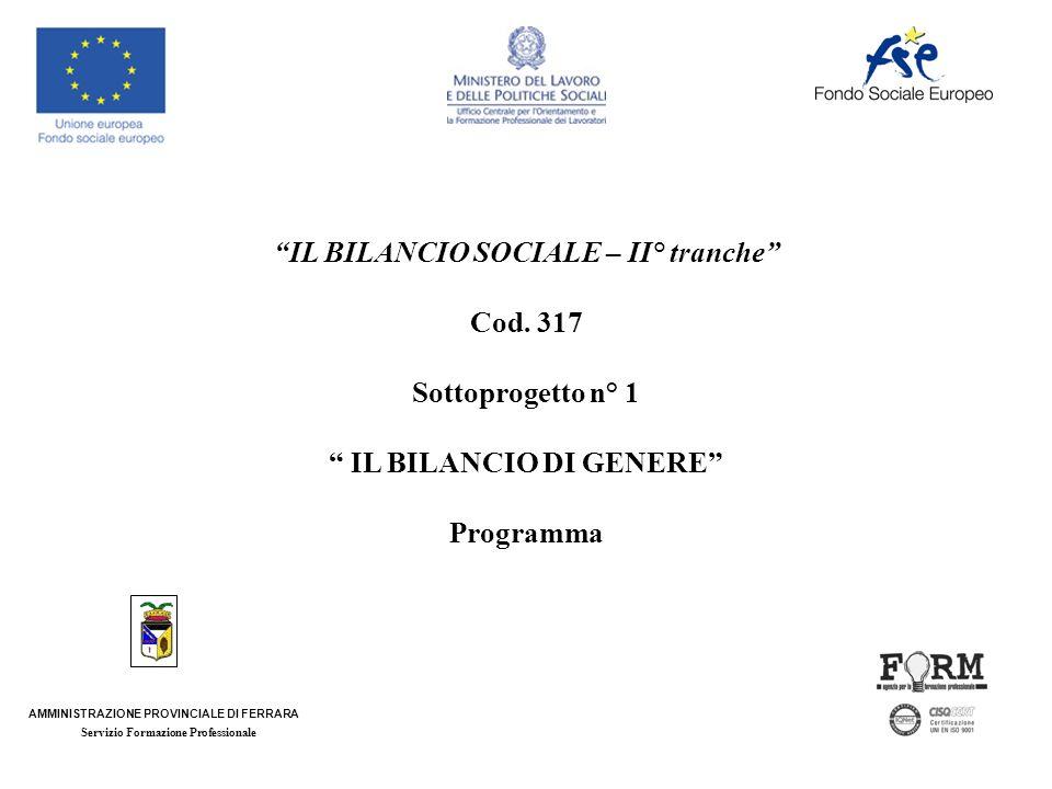 IL BILANCIO SOCIALE – II° tranche Cod.