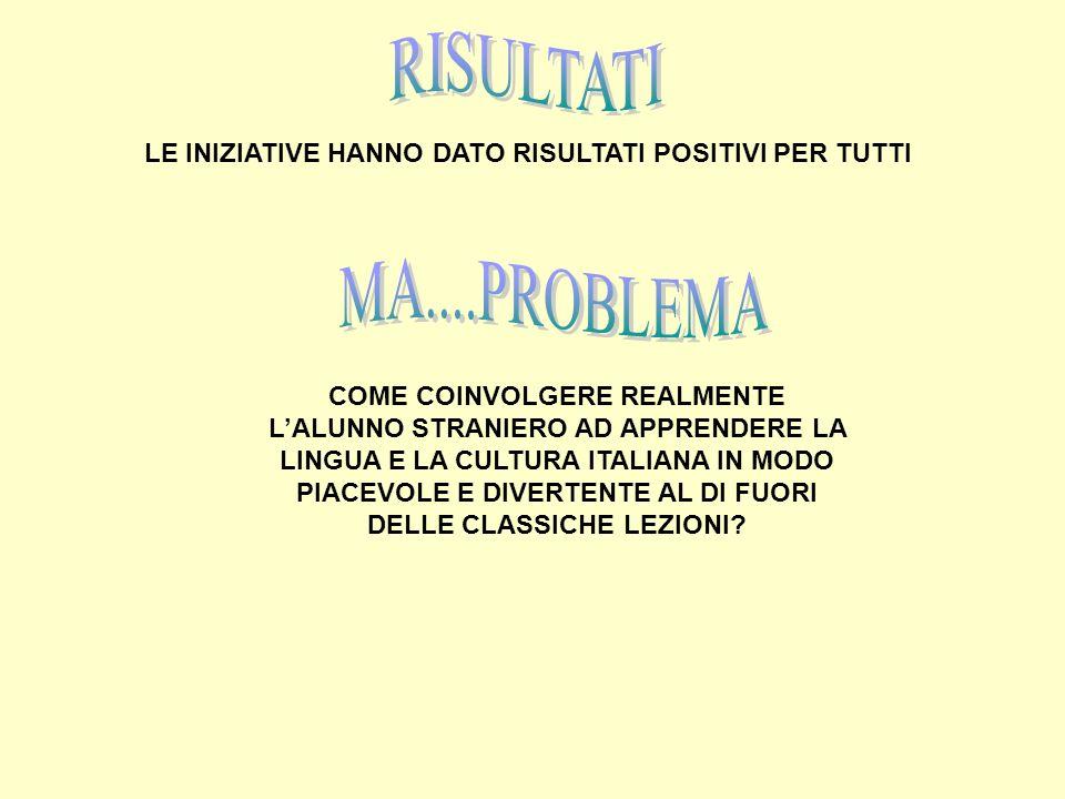 LE INIZIATIVE HANNO DATO RISULTATI POSITIVI PER TUTTI COME COINVOLGERE REALMENTE LALUNNO STRANIERO AD APPRENDERE LA LINGUA E LA CULTURA ITALIANA IN MO