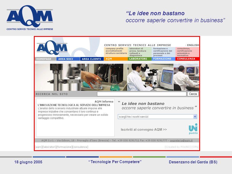 Desenzano del Garda (BS) Tecnologie Per Competere 18 giugno 2005 Le idee non bastano occorre saperle convertire in business