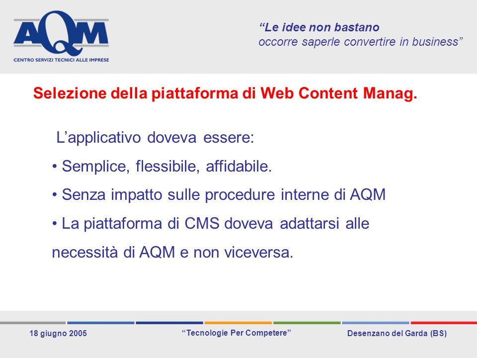 Desenzano del Garda (BS) Tecnologie Per Competere 18 giugno 2005 Le idee non bastano occorre saperle convertire in business Lapplicativo doveva essere: Semplice, flessibile, affidabile.