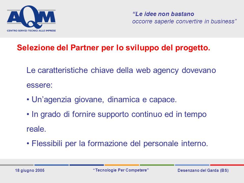 Desenzano del Garda (BS) Tecnologie Per Competere 18 giugno 2005 Le idee non bastano occorre saperle convertire in business Le caratteristiche chiave della web agency dovevano essere: Unagenzia giovane, dinamica e capace.
