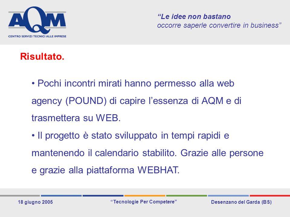 Desenzano del Garda (BS) Tecnologie Per Competere 18 giugno 2005 Le idee non bastano occorre saperle convertire in business Pochi incontri mirati hanno permesso alla web agency (POUND) di capire lessenza di AQM e di trasmettera su WEB.