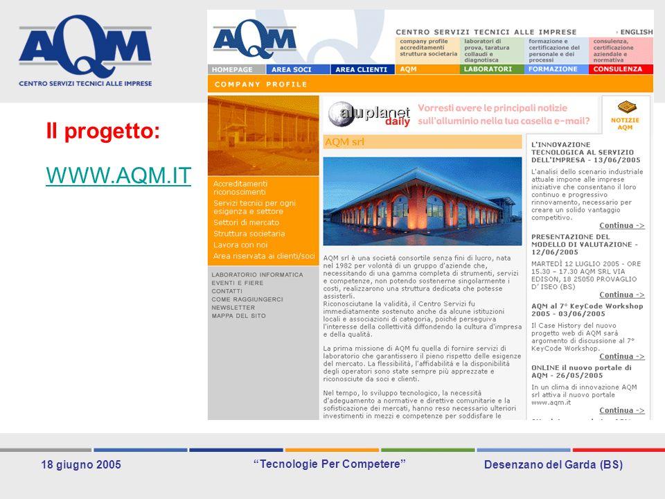 Desenzano del Garda (BS) Tecnologie Per Competere 18 giugno 2005 Le idee non bastano occorre saperle convertire in business Il progetto: WWW.AQM.IT
