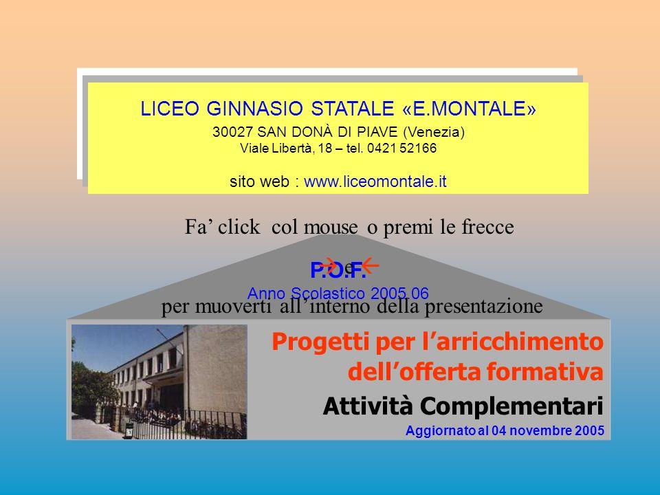 Progetti per larricchimento dellofferta formativa Attività Complementari Aggiornato al 04 novembre 2005 P.O.F. Anno Scolastico 2005.06 LICEO GINNASIO