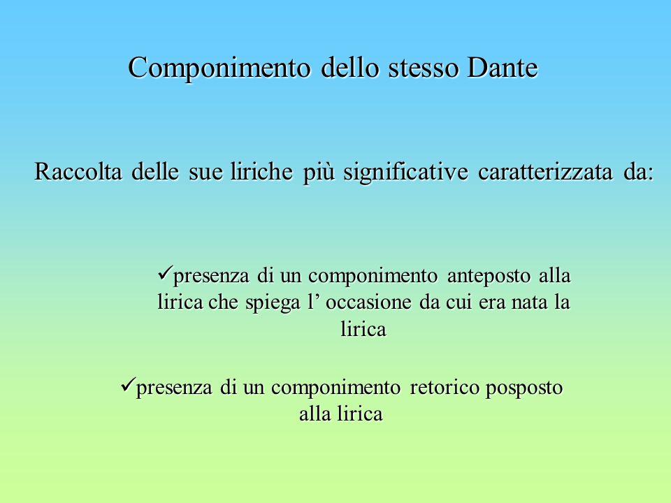 Componimento dello stesso Dante Raccolta delle sue liriche più significative caratterizzata da: presenza di un componimento anteposto alla lirica che