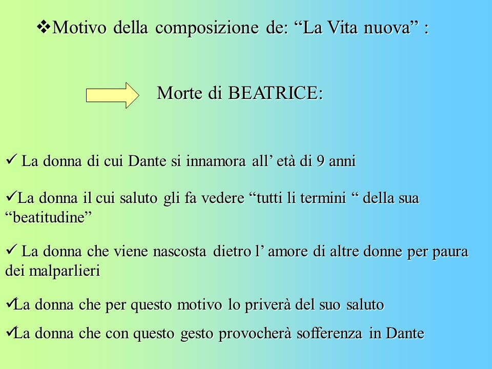 Motivo della composizione de: La Vita nuova : Motivo della composizione de: La Vita nuova : Morte di BEATRICE: La donna di cui Dante si innamora all e
