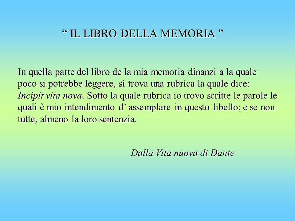 IL LIBRO DELLA MEMORIA IL LIBRO DELLA MEMORIA In quella parte del libro de la mia memoria dinanzi a la quale poco si potrebbe leggere, si trova una ru