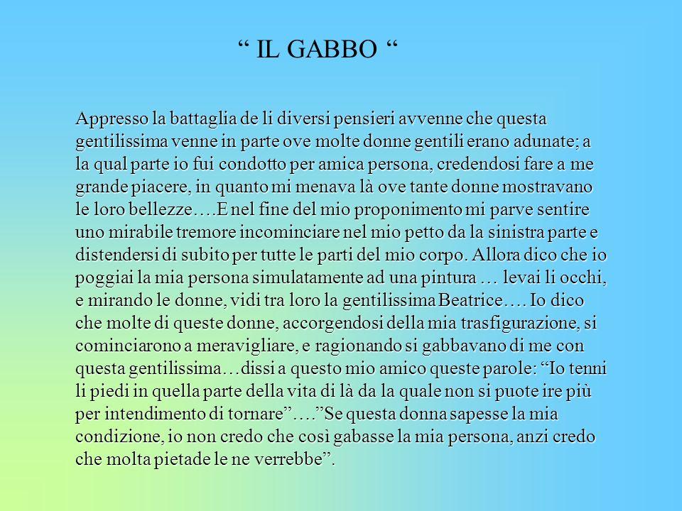 IL GABBO Appresso la battaglia de li diversi pensieri avvenne che questa gentilissima venne in parte ove molte donne gentili erano adunate; a la qual