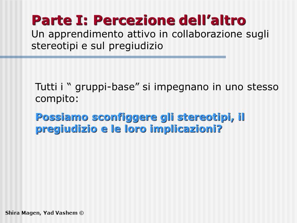 Parte I: Percezione dellaltro Parte I: Percezione dellaltro Un apprendimento attivo in collaborazione sugli stereotipi e sul pregiudizio Tutti i grupp