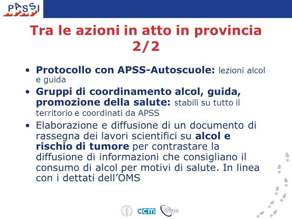 Tra le azioni in atto in provincia 2/2 Protocollo con APSS-Autoscuole: lezioni alcol e guida Gruppi di coordinamento alcol, guida, promozione della sa