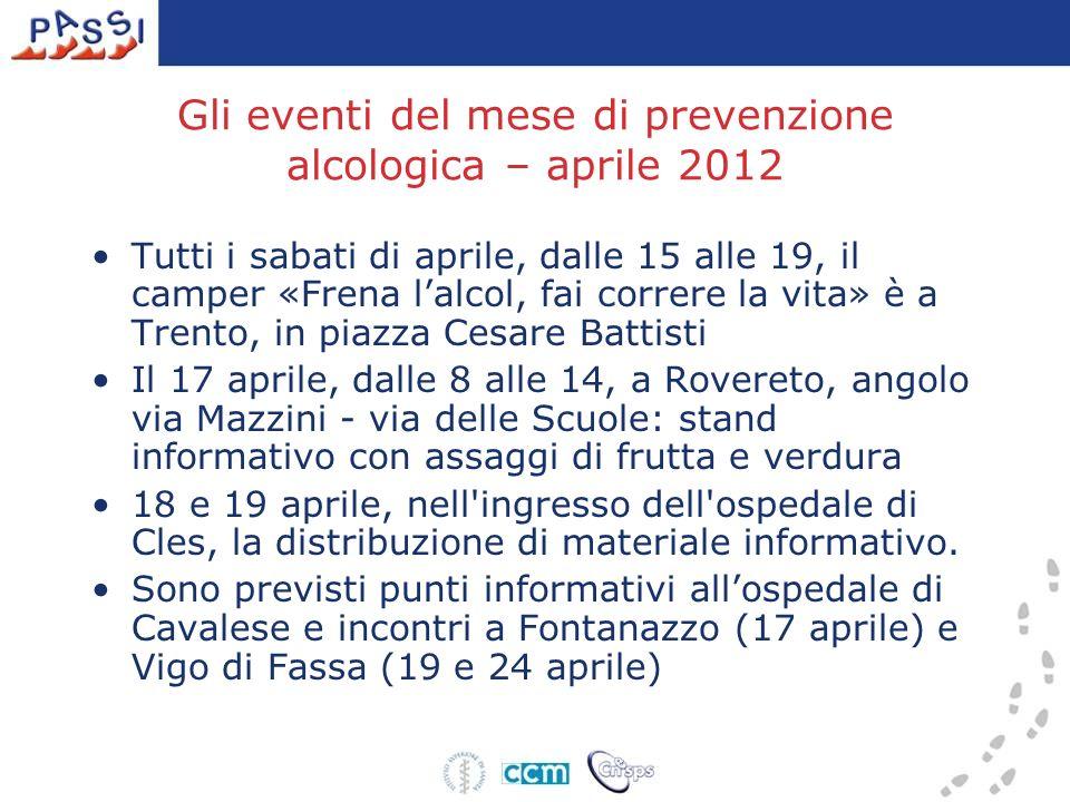 Gli eventi del mese di prevenzione alcologica – aprile 2012 Tutti i sabati di aprile, dalle 15 alle 19, il camper «Frena lalcol, fai correre la vita»