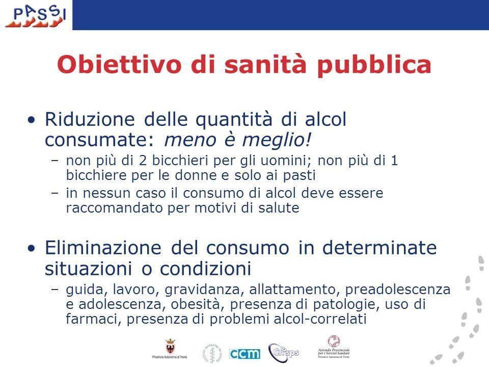 Obiettivo di sanità pubblica Riduzione delle quantità di alcol consumate: meno è meglio! –non più di 2 bicchieri per gli uomini; non più di 1 bicchier