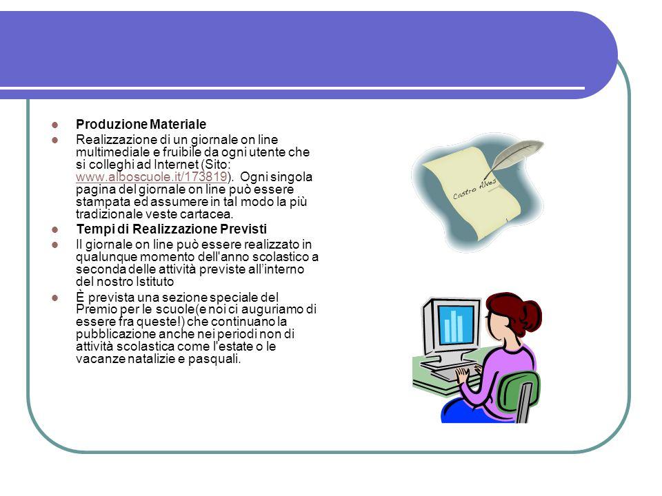 Produzione Materiale Realizzazione di un giornale on line multimediale e fruibile da ogni utente che si colleghi ad Internet (Sito: www.alboscuole.it/173819).