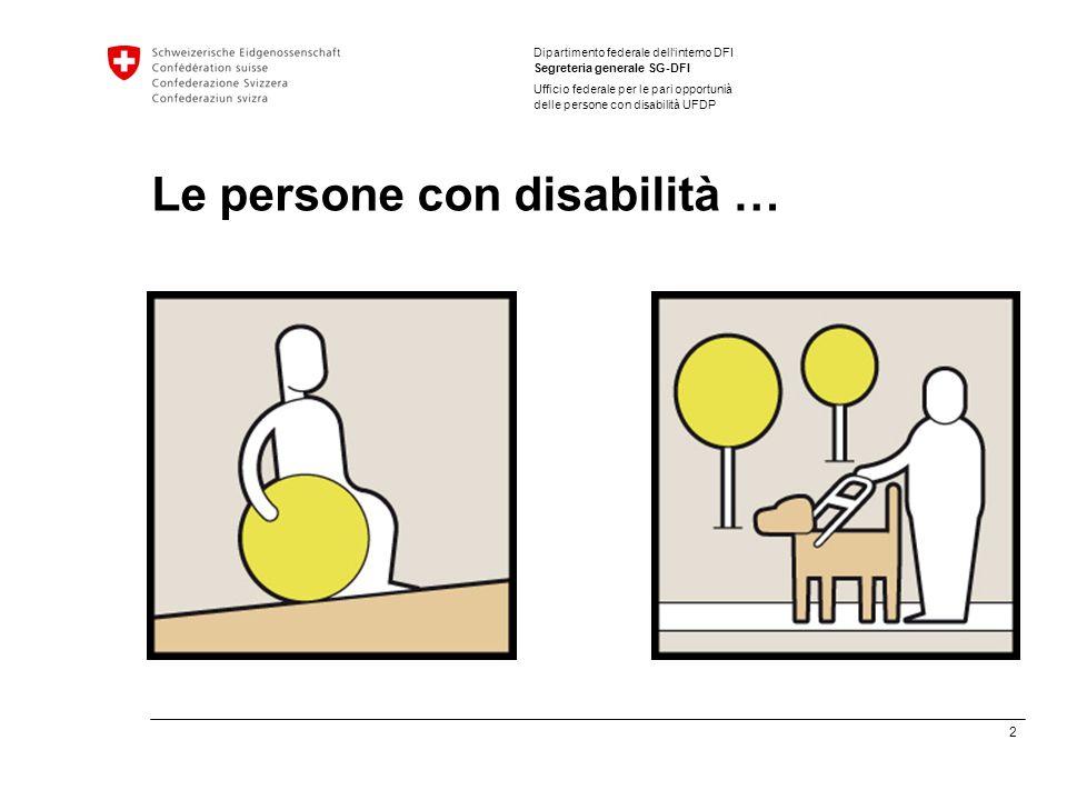 2 Dipartimento federale dellinterno DFI Segreteria generale SG-DFI Ufficio federale per le pari opportunià delle persone con disabilità UFDP Le persone con disabilità …