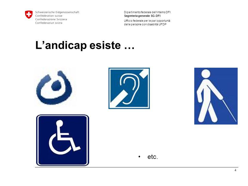 4 Dipartimento federale dellinterno DFI Segreteria generale SG-DFI Ufficio federale per le pari opportunià delle persone con disabilità UFDP Landicap esiste … etc.