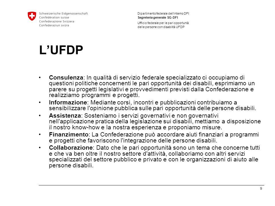 9 Dipartimento federale dellinterno DFI Segreteria generale SG-DFI Ufficio federale per le pari opportunià delle persone con disabilità UFDP LUFDP Con