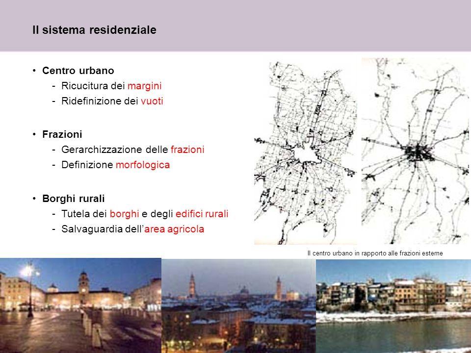 12 Il sistema residenziale Centro urbano -Ricucitura dei margini -Ridefinizione dei vuoti Frazioni -Gerarchizzazione delle frazioni -Definizione morfo
