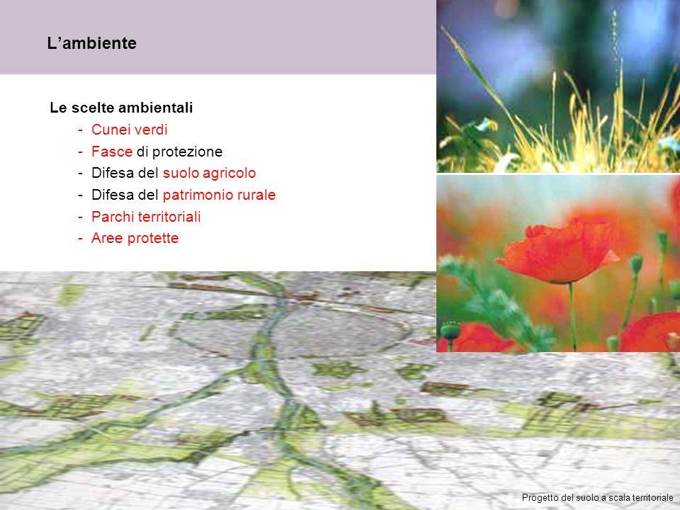 15 Lambiente Le scelte ambientali -Cunei verdi -Fasce di protezione -Difesa del suolo agricolo -Difesa del patrimonio rurale -Parchi territoriali -Are