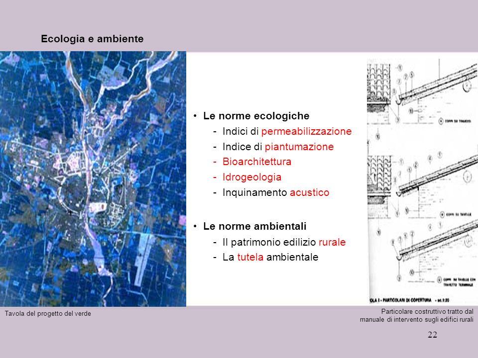 22 Ecologia e ambiente Le norme ecologiche -Indici di permeabilizzazione -Indice di piantumazione -Bioarchitettura -Idrogeologia -Inquinamento acustic