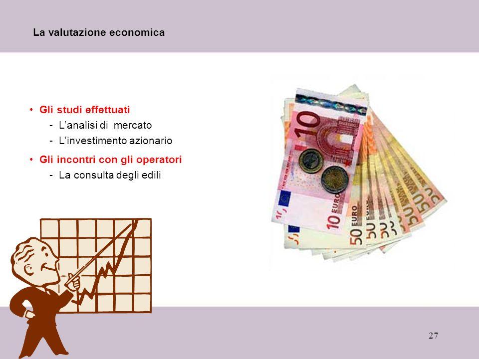 27 La valutazione economica Gli studi effettuati -Lanalisi di mercato -Linvestimento azionario Gli incontri con gli operatori -La consulta degli edili