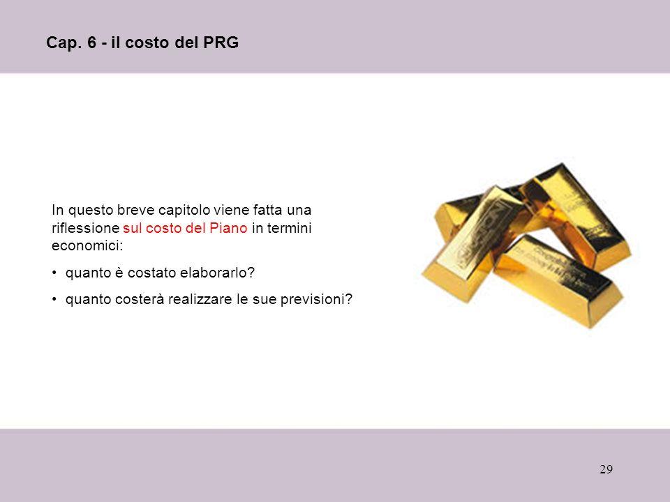 29 Cap. 6 - il costo del PRG In questo breve capitolo viene fatta una riflessione sul costo del Piano in termini economici: quanto è costato elaborarl