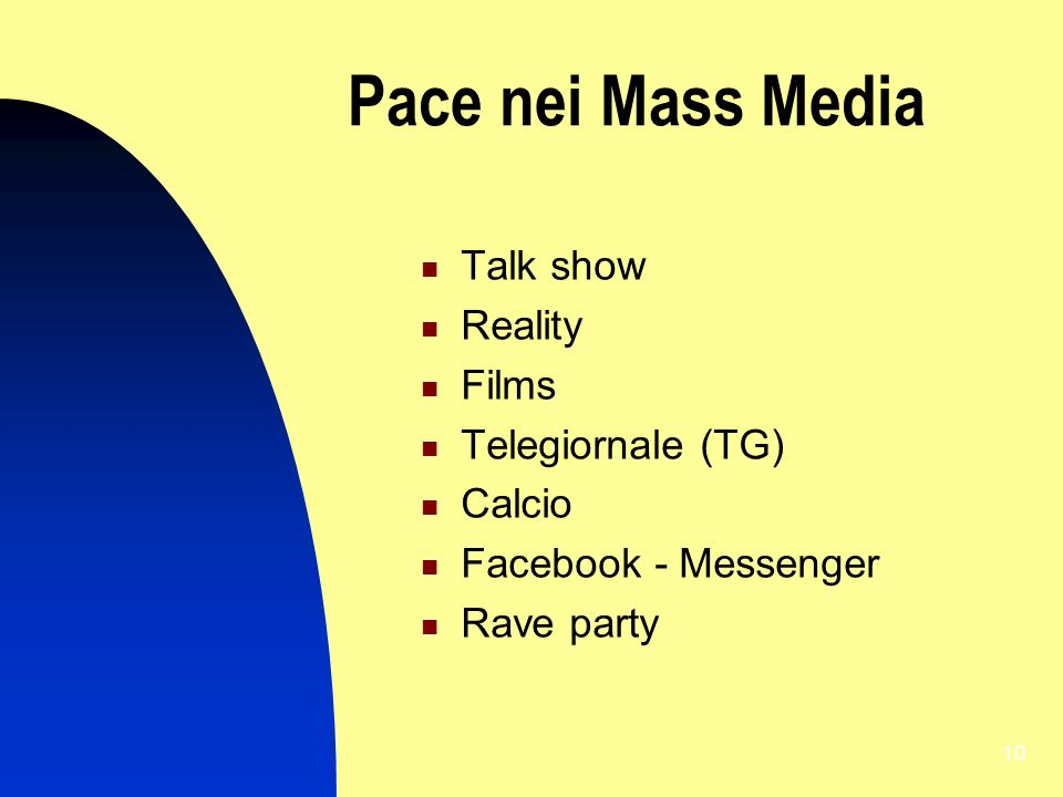 10 Pace nei Mass Media Talk show Reality Films Telegiornale (TG) Calcio Facebook - Messenger Rave party