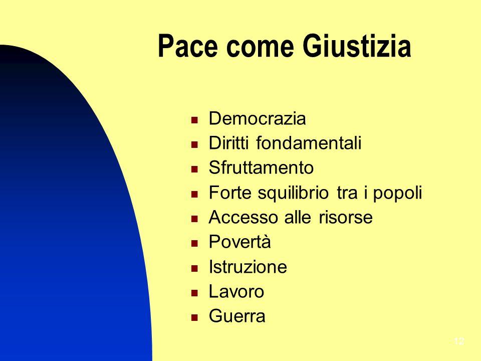 12 Pace come Giustizia Democrazia Diritti fondamentali Sfruttamento Forte squilibrio tra i popoli Accesso alle risorse Povertà Istruzione Lavoro Guerr
