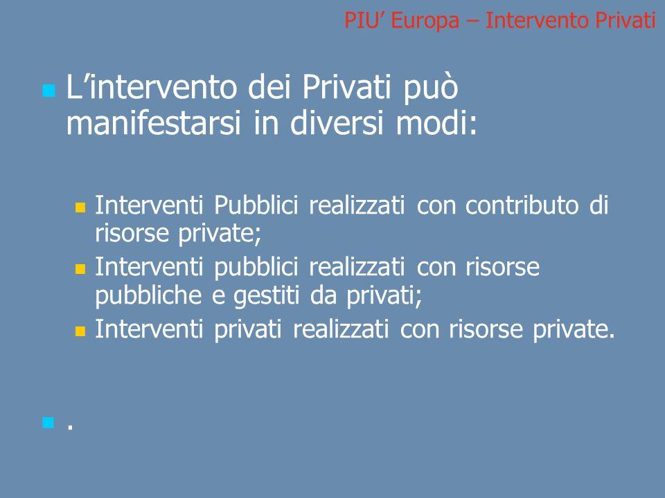 PIU Europa – Intervento Privati Lintervento dei Privati può manifestarsi in diversi modi: Interventi Pubblici realizzati con contributo di risorse pri