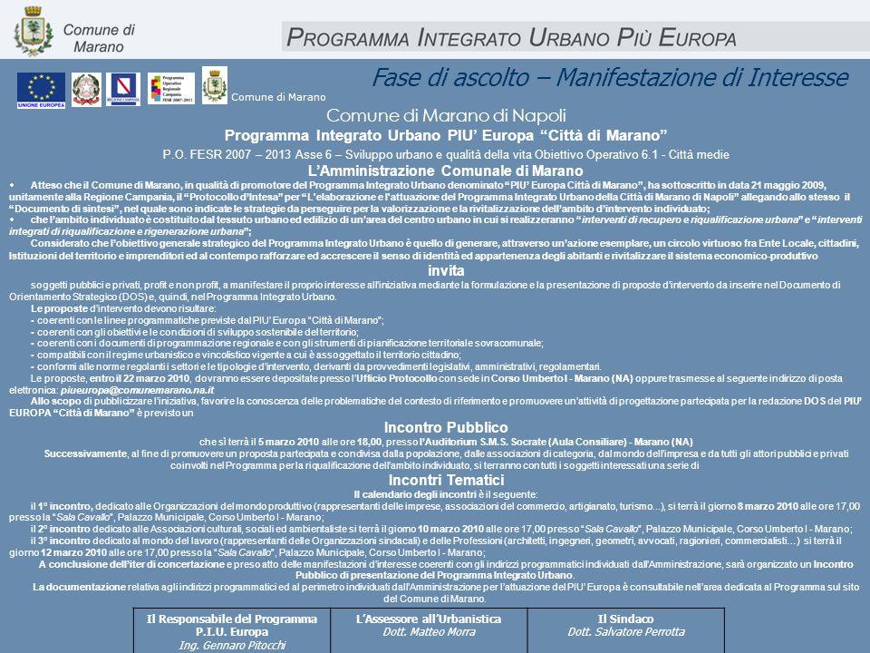 Fase di ascolto – Manifestazione di Interesse Comune di Marano di Napoli Programma Integrato Urbano PIU Europa Città di Marano P.O. FESR 2007 – 2013 A