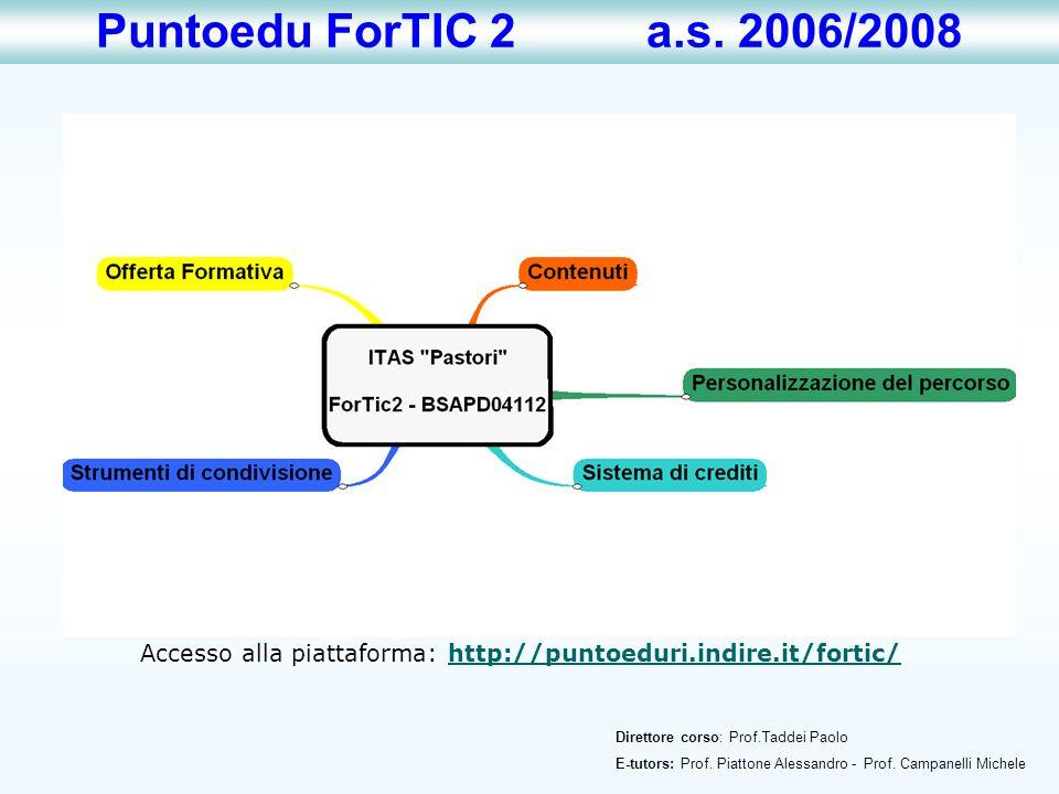 Direttore corso: Prof.Taddei Paolo E-tutors: Prof. Piattone Alessandro - Prof. Campanelli Michele Puntoedu ForTIC 2 a.s. 2006/2008 Accesso alla piatta