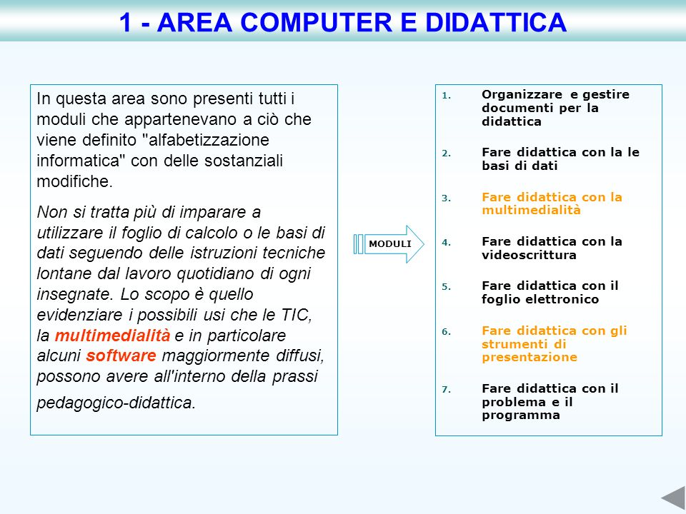 L utilizzo di internet in didattica è il filo conduttore di questa area tematica.