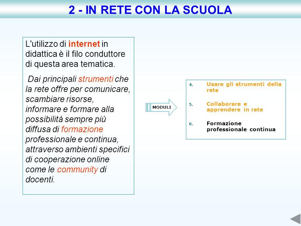 L'utilizzo di internet in didattica è il filo conduttore di questa area tematica. Dai principali strumenti che la rete offre per comunicare, scambiare