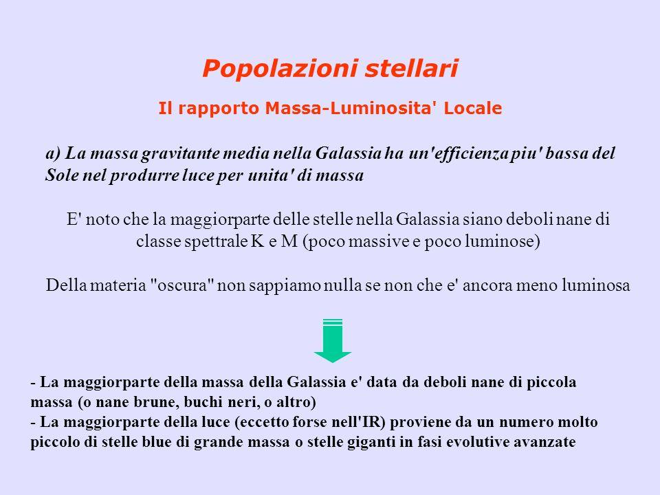 Popolazioni stellari Il rapporto Massa-Luminosita' Locale a) La massa gravitante media nella Galassia ha un'efficienza piu' bassa del Sole nel produrr