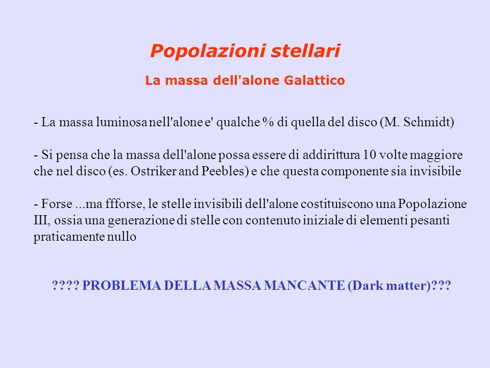 Popolazioni stellari La massa dell'alone Galattico - La massa luminosa nell'alone e' qualche % di quella del disco (M. Schmidt) - Si pensa che la mass