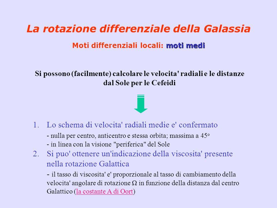 moti medi La rotazione differenziale della Galassia Moti differenziali locali: moti medi Si possono (facilmente) calcolare le velocita' radiali e le d