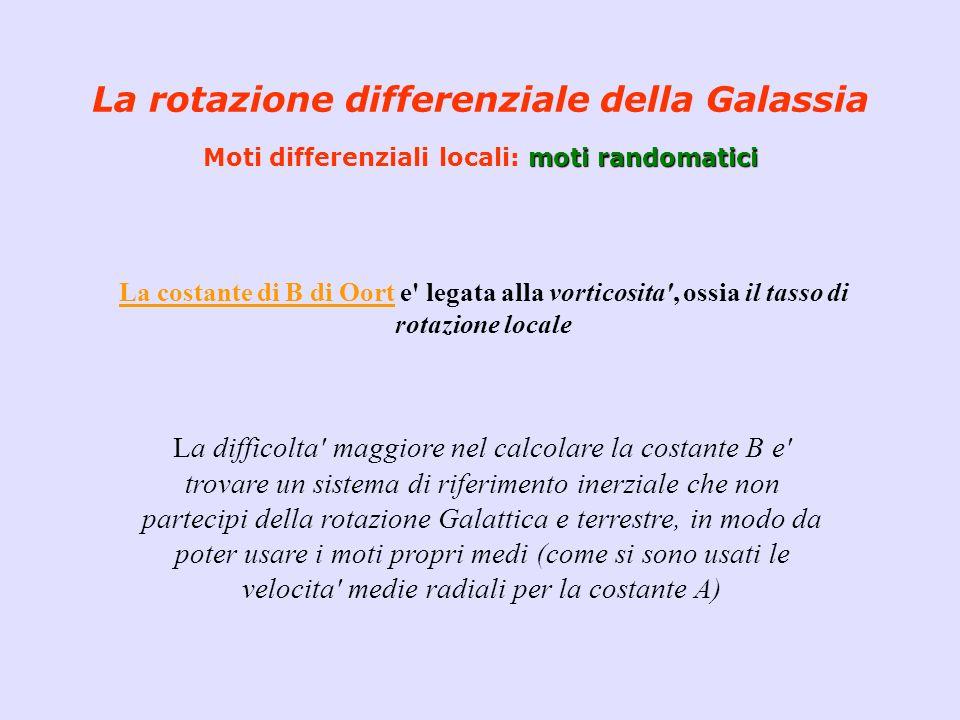 moti randomatici La rotazione differenziale della Galassia Moti differenziali locali: moti randomatici La costante di B di Oort e' legata alla vortico