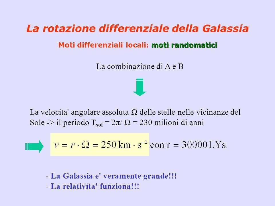 moti randomatici La rotazione differenziale della Galassia Moti differenziali locali: moti randomatici La combinazione di A e B La velocita' angolare