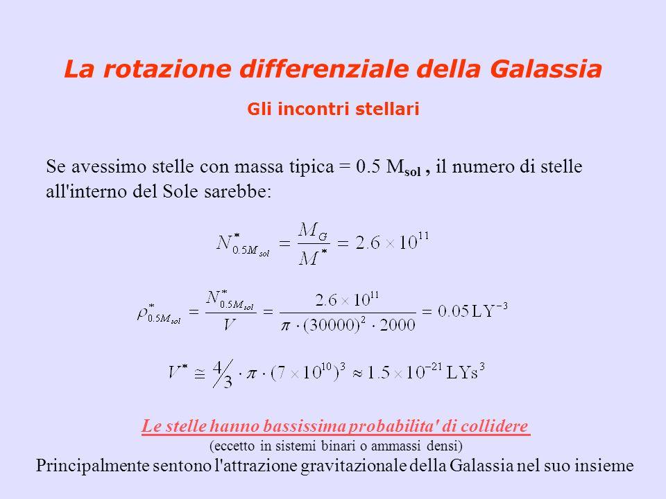 La rotazione differenziale della Galassia Gli incontri stellari Se avessimo stelle con massa tipica = 0.5 M sol, il numero di stelle all'interno del S