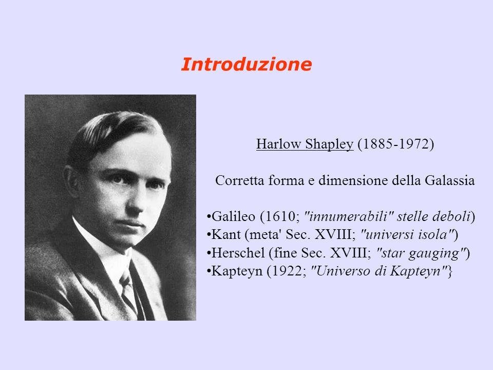 Introduzione Harlow Shapley (1885-1972) Corretta forma e dimensione della Galassia Galileo (1610;