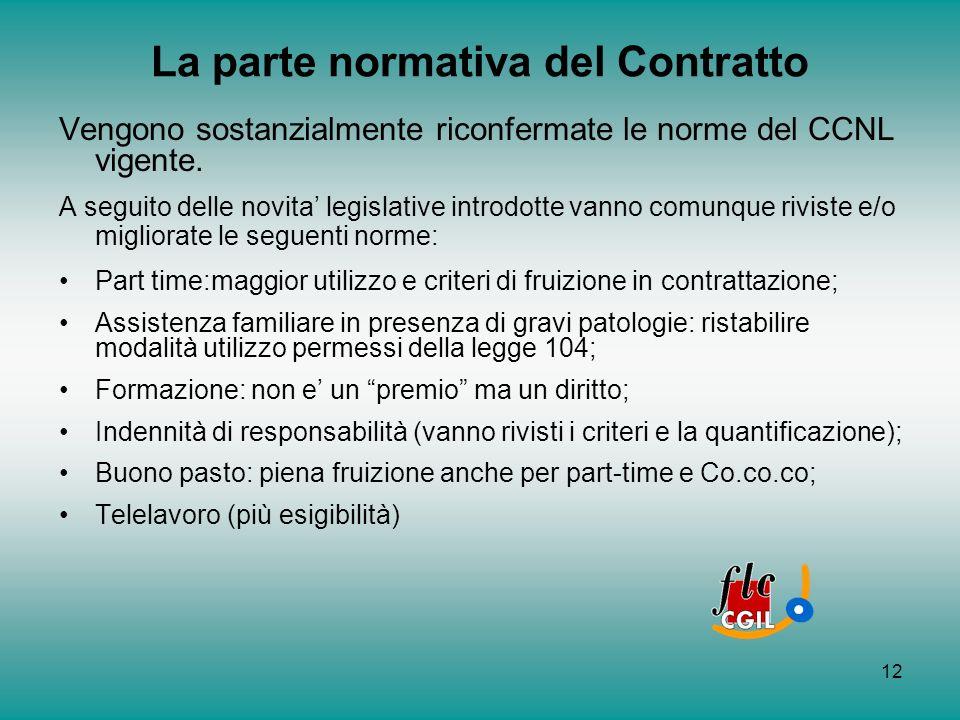 12 La parte normativa del Contratto Vengono sostanzialmente riconfermate le norme del CCNL vigente. A seguito delle novita legislative introdotte vann