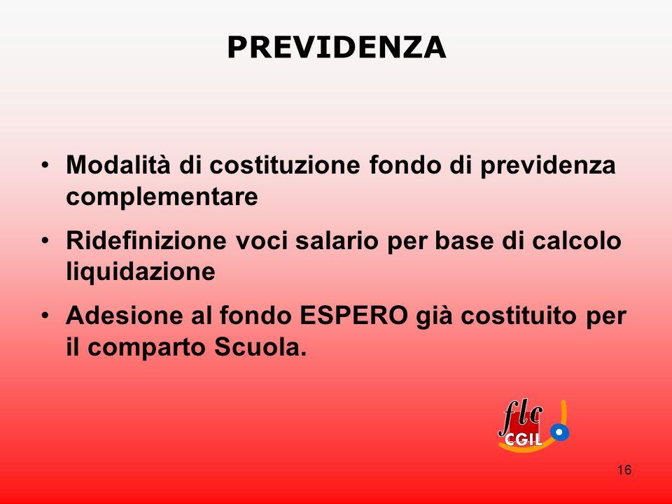 16 PREVIDENZA Modalità di costituzione fondo di previdenza complementare Ridefinizione voci salario per base di calcolo liquidazione Adesione al fondo