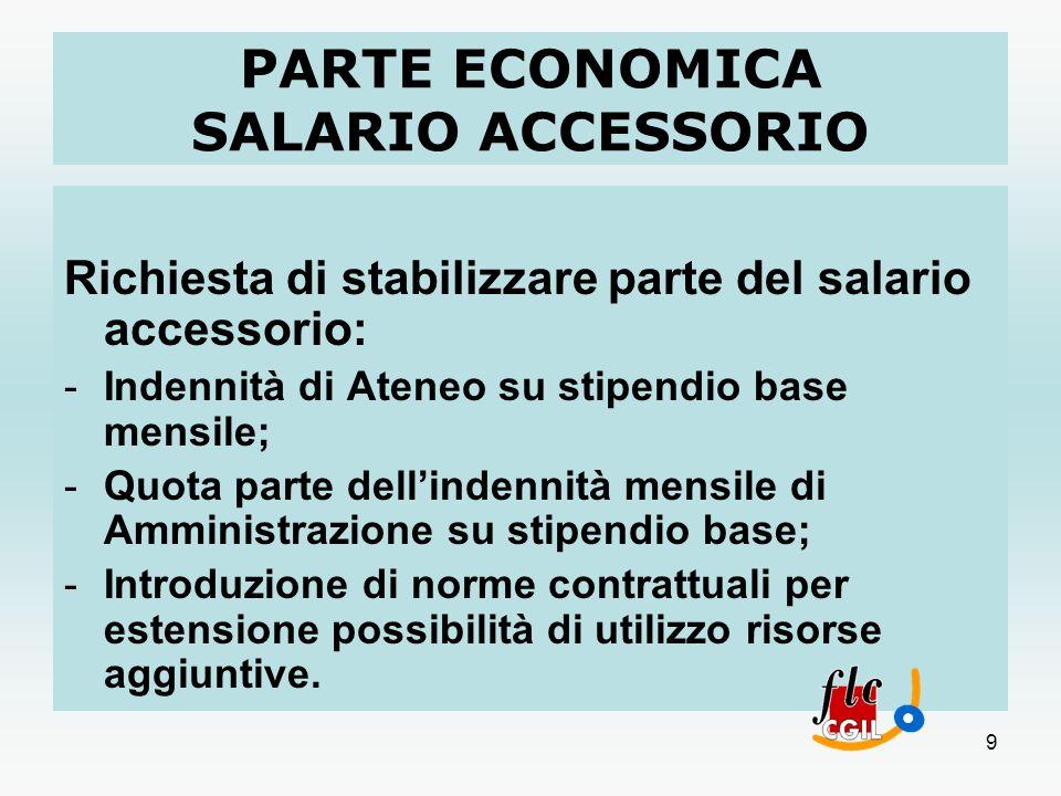 9 PARTE ECONOMICA SALARIO ACCESSORIO Richiesta di stabilizzare parte del salario accessorio: -Indennità di Ateneo su stipendio base mensile; -Quota pa