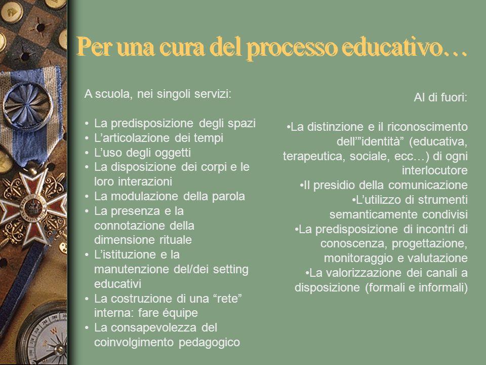 Per una cura del processo educativo… A scuola, nei singoli servizi: La predisposizione degli spazi Larticolazione dei tempi Luso degli oggetti La disp
