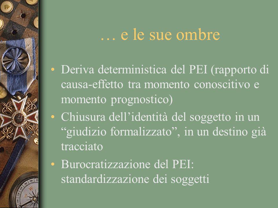 … e le sue ombre Deriva deterministica del PEI (rapporto di causa-effetto tra momento conoscitivo e momento prognostico) Chiusura dellidentità del sog